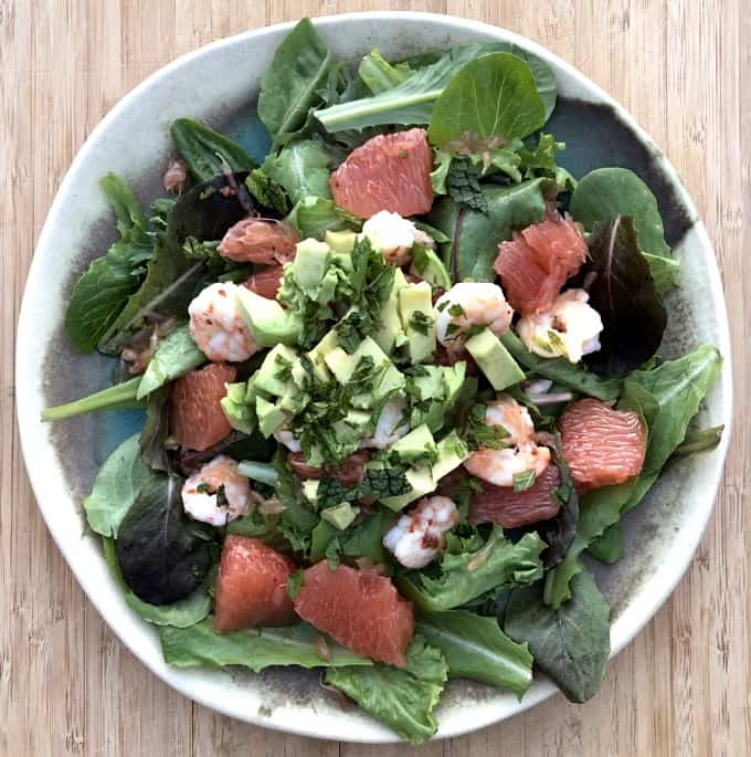 Shrimp and grapefruit salad with mixed greens, avocado and fresh mint.