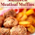 Plate of mini meatloaf muffins with toothpicks and side of ketchup for dipping.