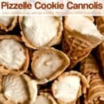 Pizzelle Cookie Cannolis stacked on top of each other.