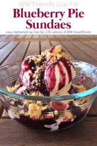 Blueberry pie sundae over vanilla frozen yogurt and topped with crumbled shortbread finger cookies.