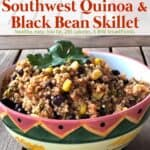Southwest quinoa with black beans and corn in pretty ceramic bowl garnished with fresh cilantro.