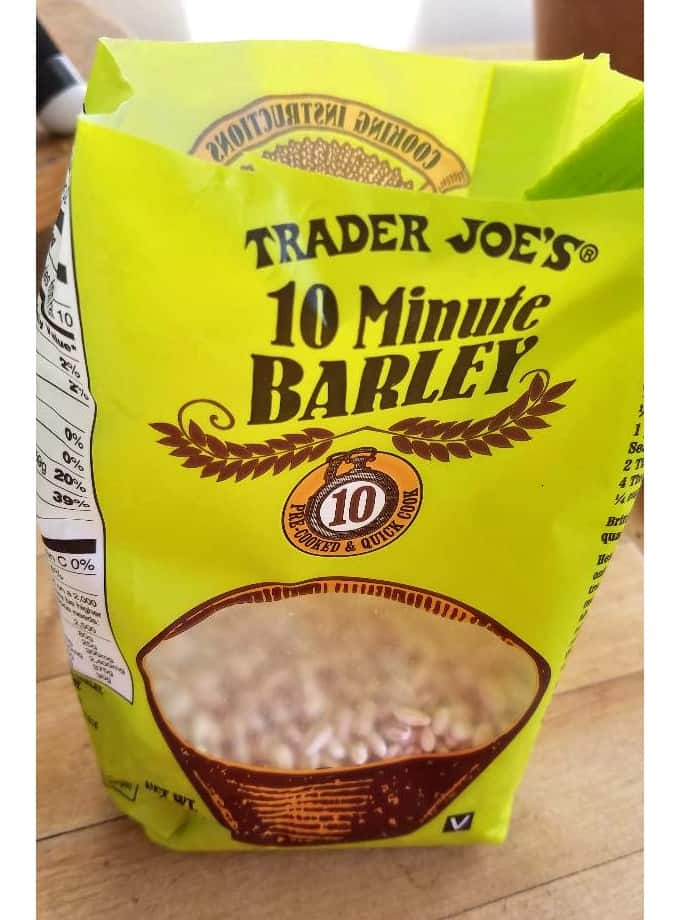 Package of 10-Minute Quick Cook Barley from Trader Joe's.
