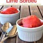 Two white ramekins with watermelon lime sorbet and two spoons.
