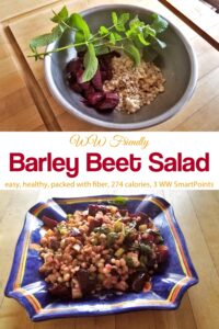 Bowl with barley, chopped beets and fresh mint near finished barley beet salad and ceramic bowl.