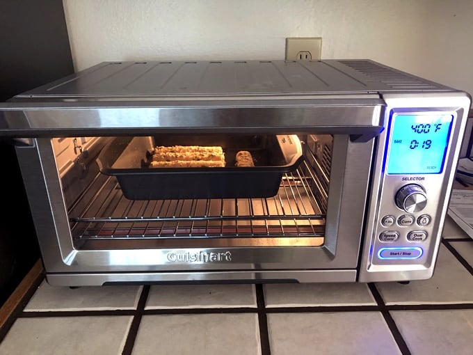 Cooking mozzarella sticks in Cuisinart Chef's Convection Toaster Oven.