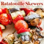 Fresh grilled ratatouille skewers up close.