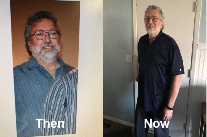 Richard's weight loss success before and after from Kurbo by WW.