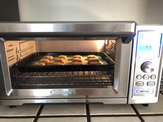 Baking cookies in Cuisinart Toaster Oven.