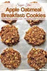Sugar-free apple oat breakfast cookies on baking sheet.