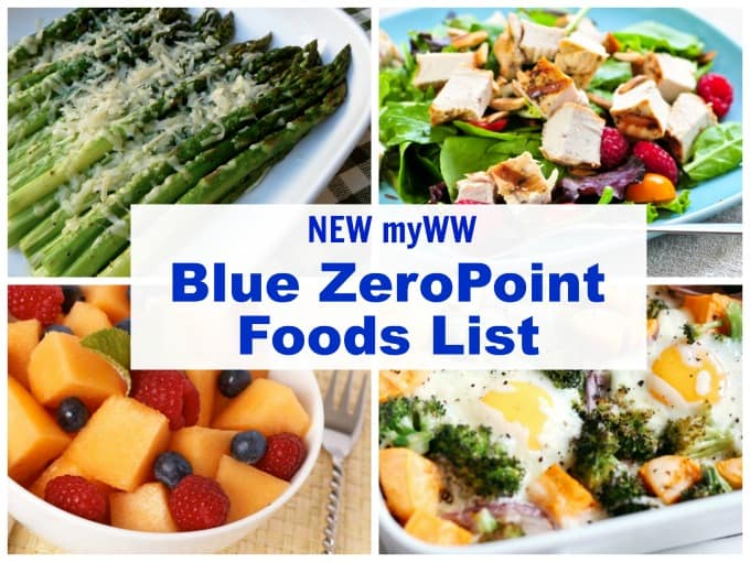 New myWW Blue Plan ZeroPoint Foods List collage with parmesan roasted asparagus, fresh fruit, salad and eggs with roasted veggies