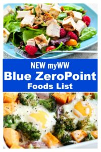 New myWW Blue ZeroPoint Foods List collage.
