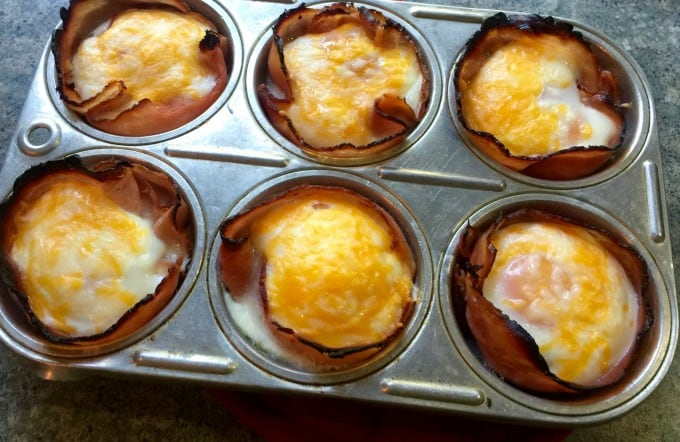 Easy Ham and Cheese Egg Muffin Cups in 6-cup muffin tin