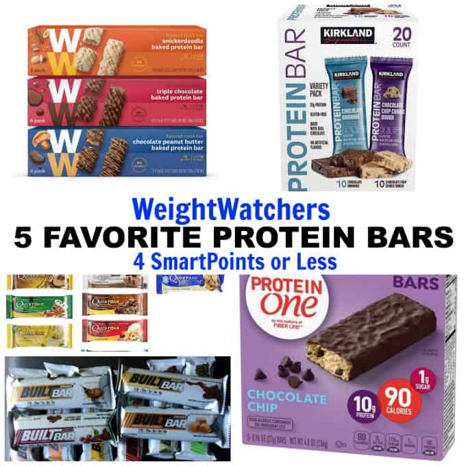 Weight Watchers favorite protein bars collage