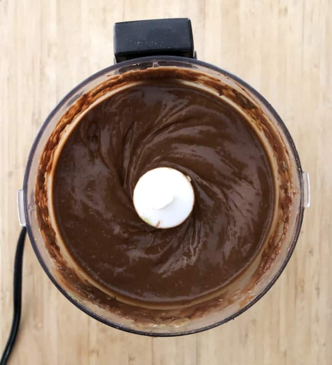 Food processor with dark chocolate avocado mousse.