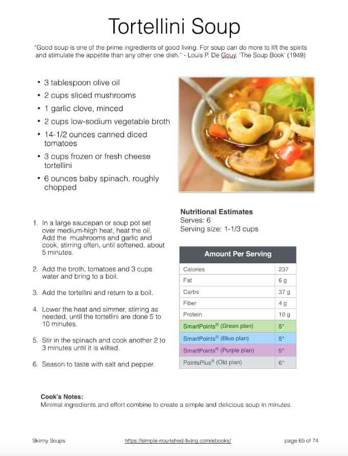 Tortellini Soup Recipe Sample Recipe Page
