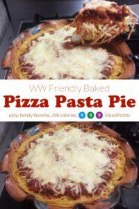 Baked pizza pasta pie in ceramic pie dish.