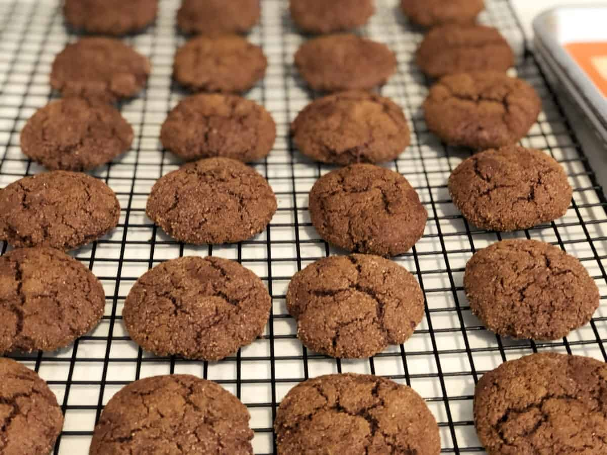 Chocolate cake mix cookies on cooling rack.