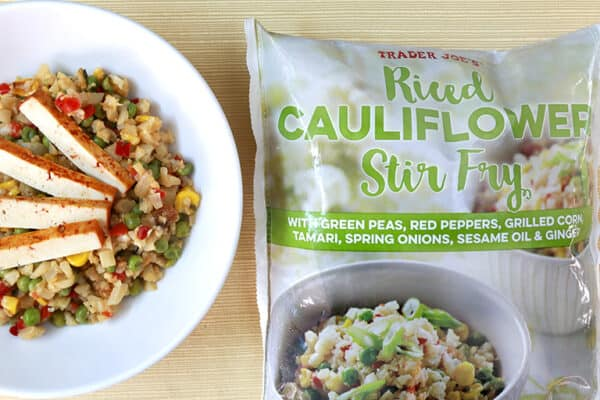 Package of Trader Joe's riced cauliflower stir fry