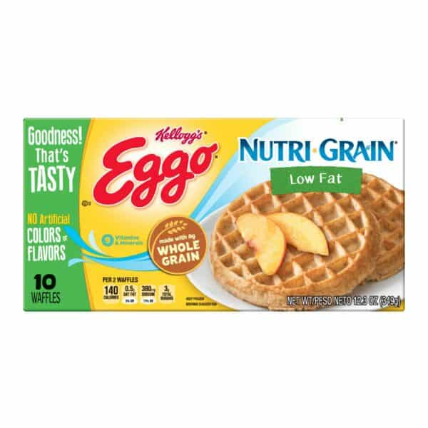Package of Kellogg's Eggs nutri-grain low fat waffles