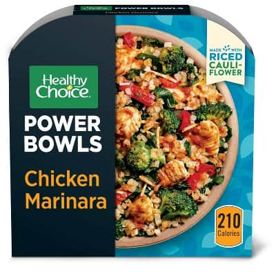 Package of Healthy Choice chicken marinara with cauliflower rice