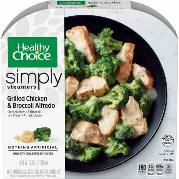 Package of Healthy Choice simply steamers grilled chicken and broccoli alfredo