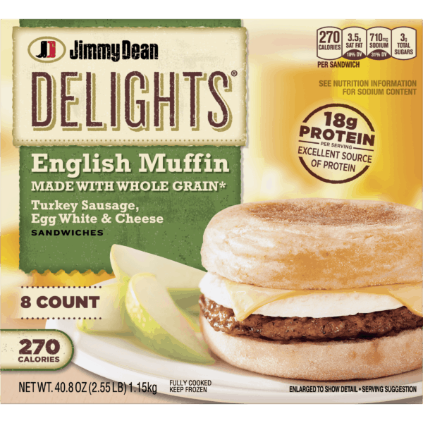 Package of Jimmy Dean Delights whole grain english muffin with turkey sausage, egg white and cheese sandwich