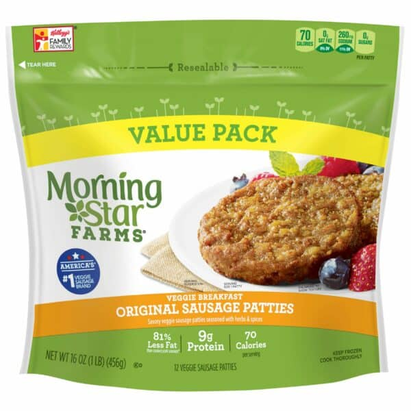 Package of Morning Star Farms veggie breakfast original sausage patties