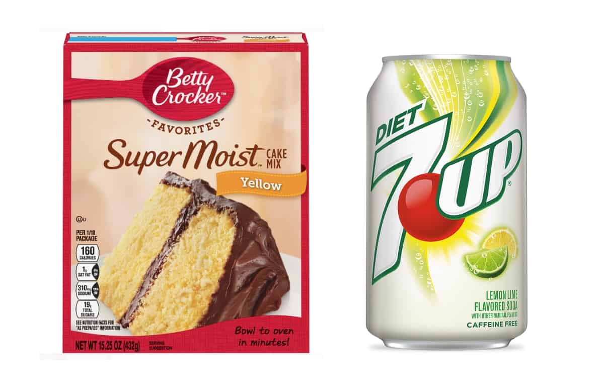 Box of Betty Crocker Super Moist Yellow Cake Mix next to can of Diet 7-Up