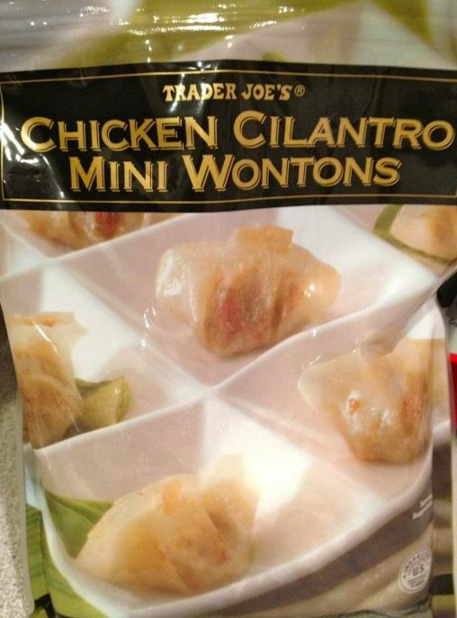 Package of Trader Joe's chicken cilantro mini wontons