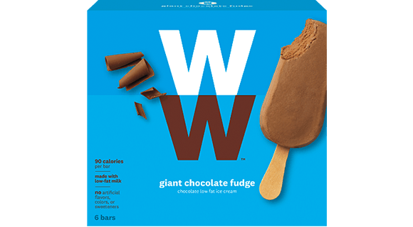 Package of WW giant chocolate fudge low fat ice cream bars