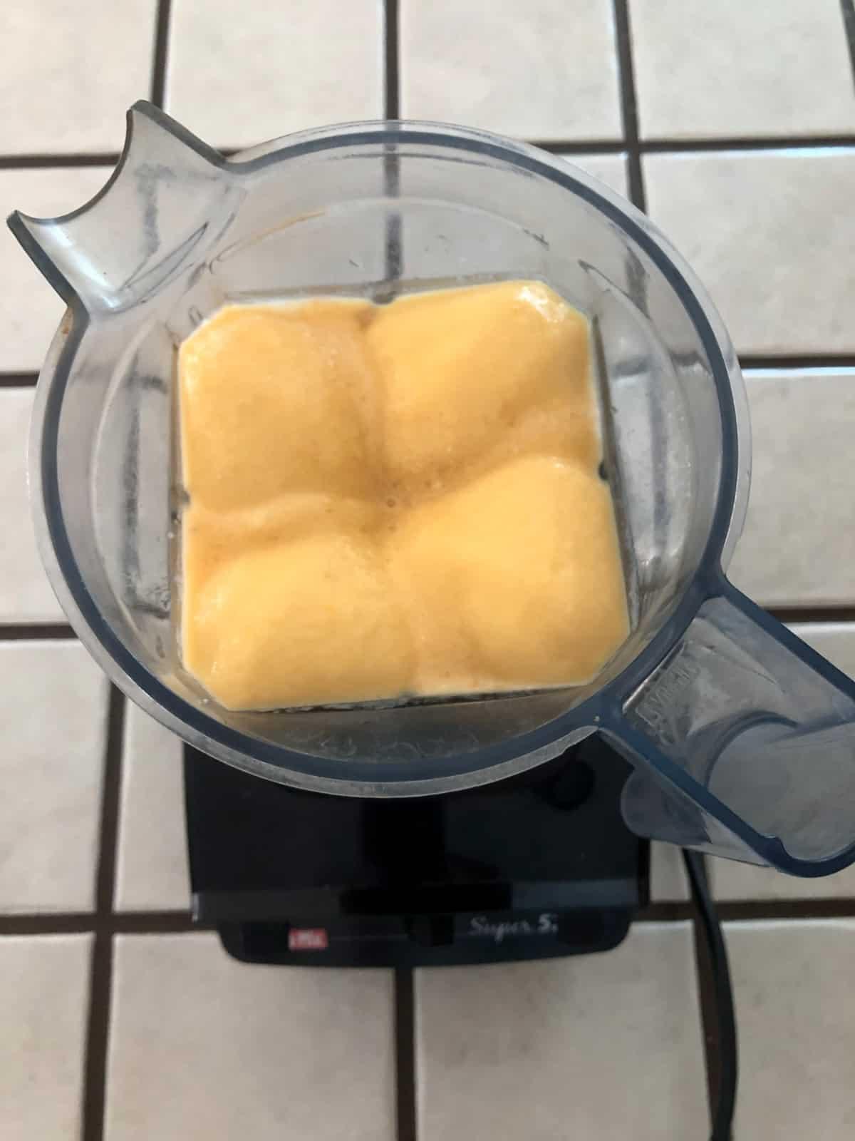 Frozen papaya dessert in Vitamix blender container.