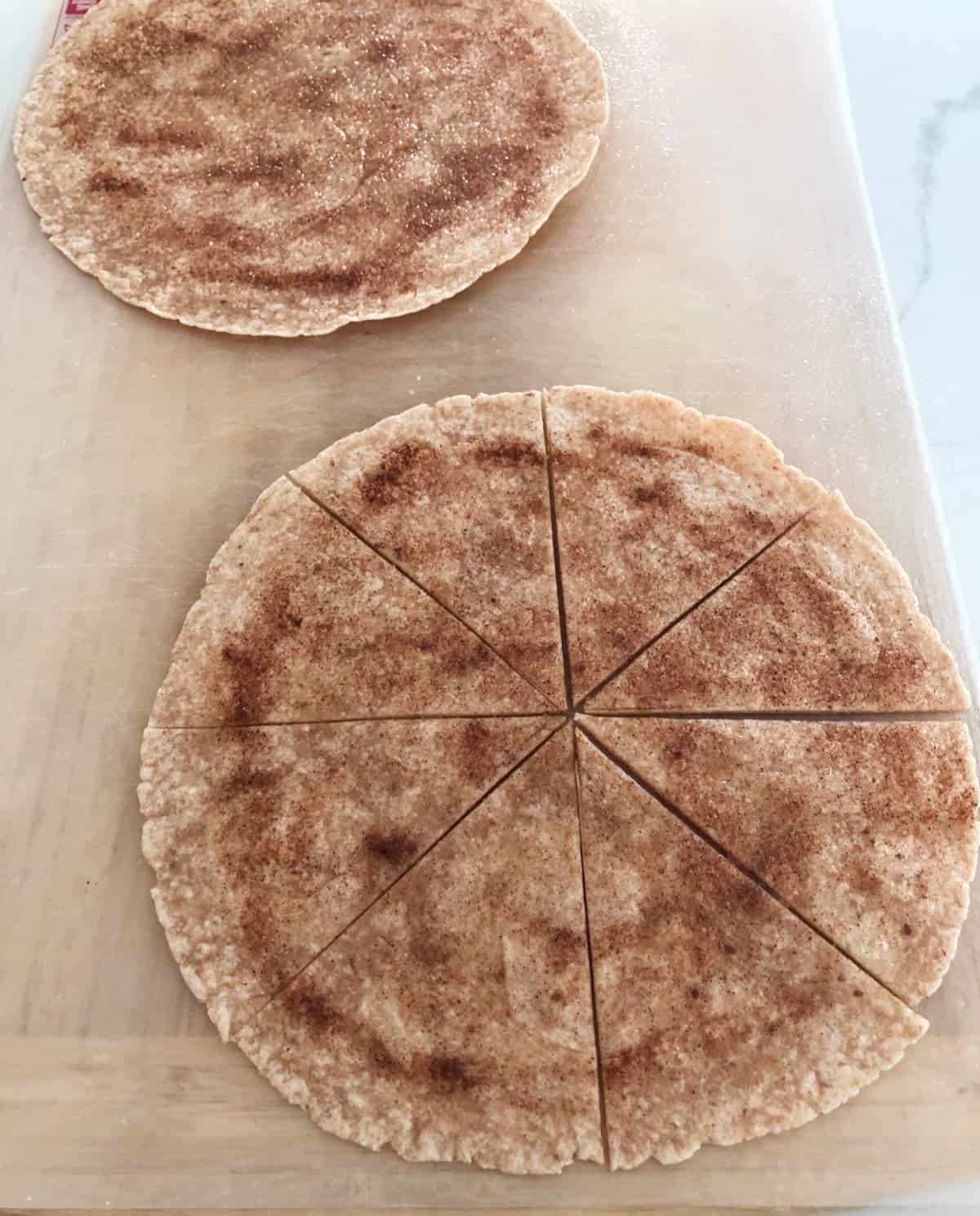 Whole wheat tortillas topped with cinnamon-sugar and cut into 8 wedges.