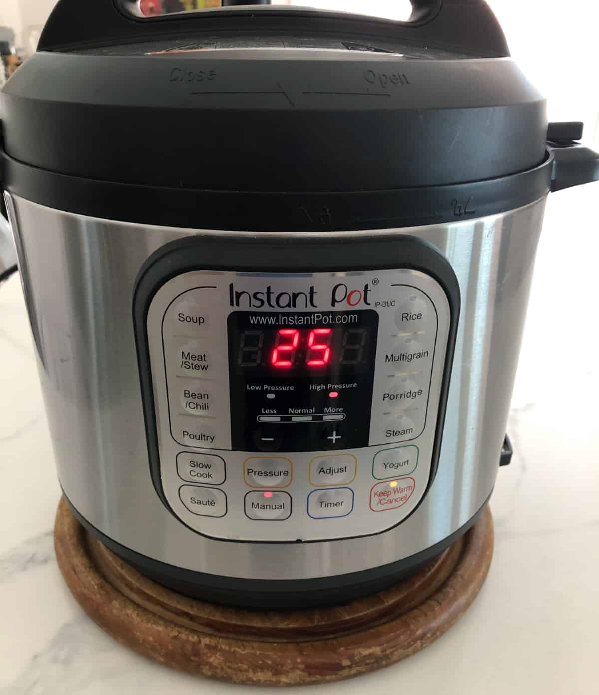 Instant Pot set to High Pressure for 25 minutes.