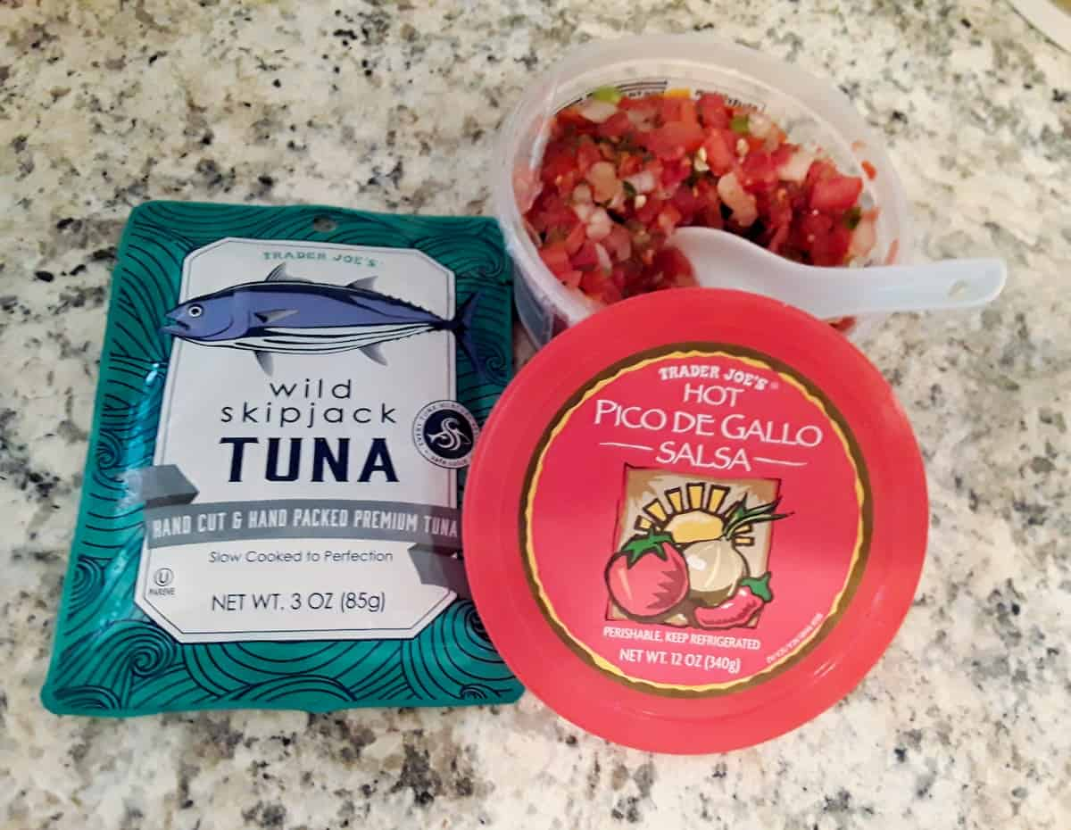 Pouch of tuna packed in water and container of hot pico de gallo salsa.