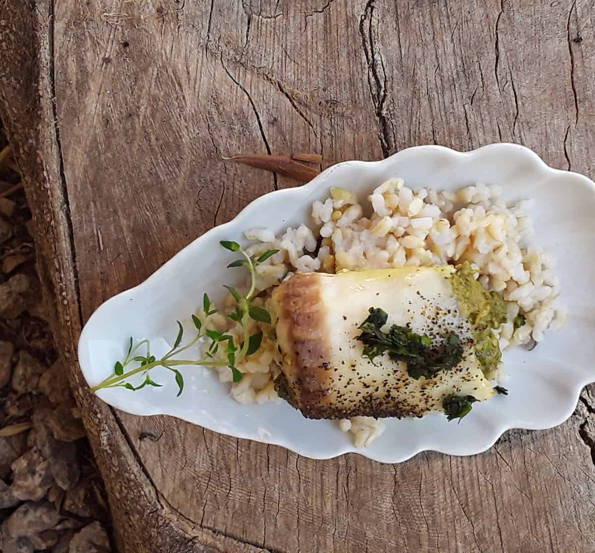 Baked tilapia with pesto on bed of rice on small white plate.