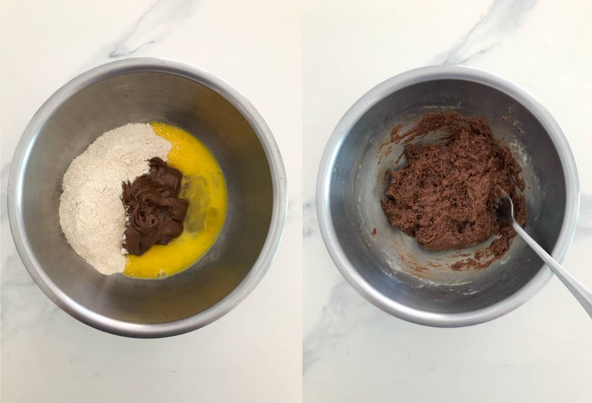 Collage showing unmixed and mixed Nutella cake batter in mixing bowl.