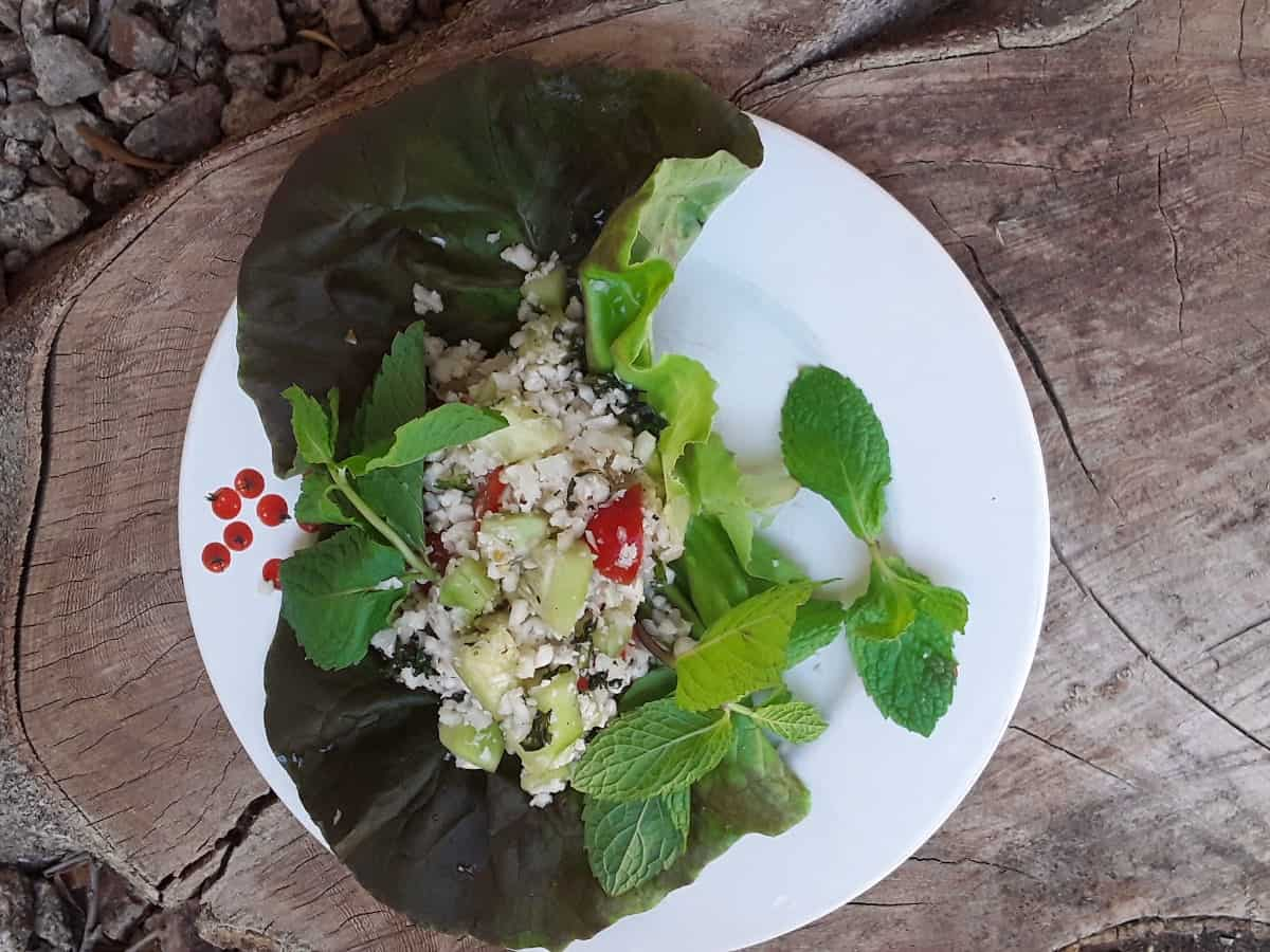 Riced cauliflower tabbouleh salad over lettuce on white plate.