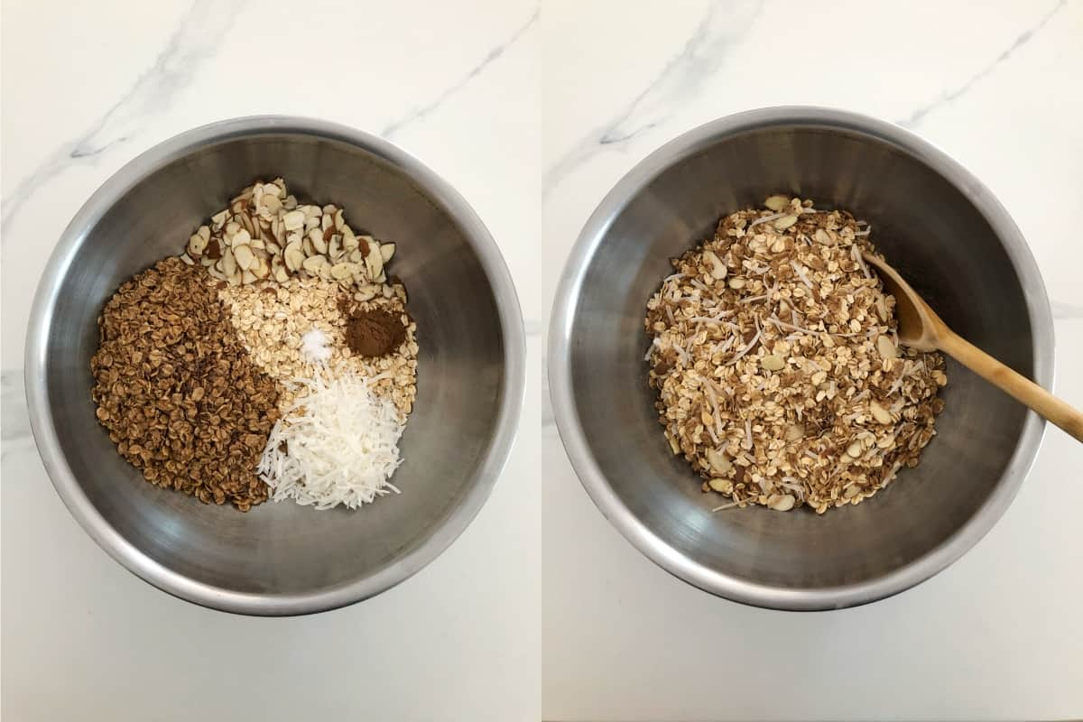 Stirring oats, wheat flakes, almonds, coconut, cinnamon and salt in mixing bowl.