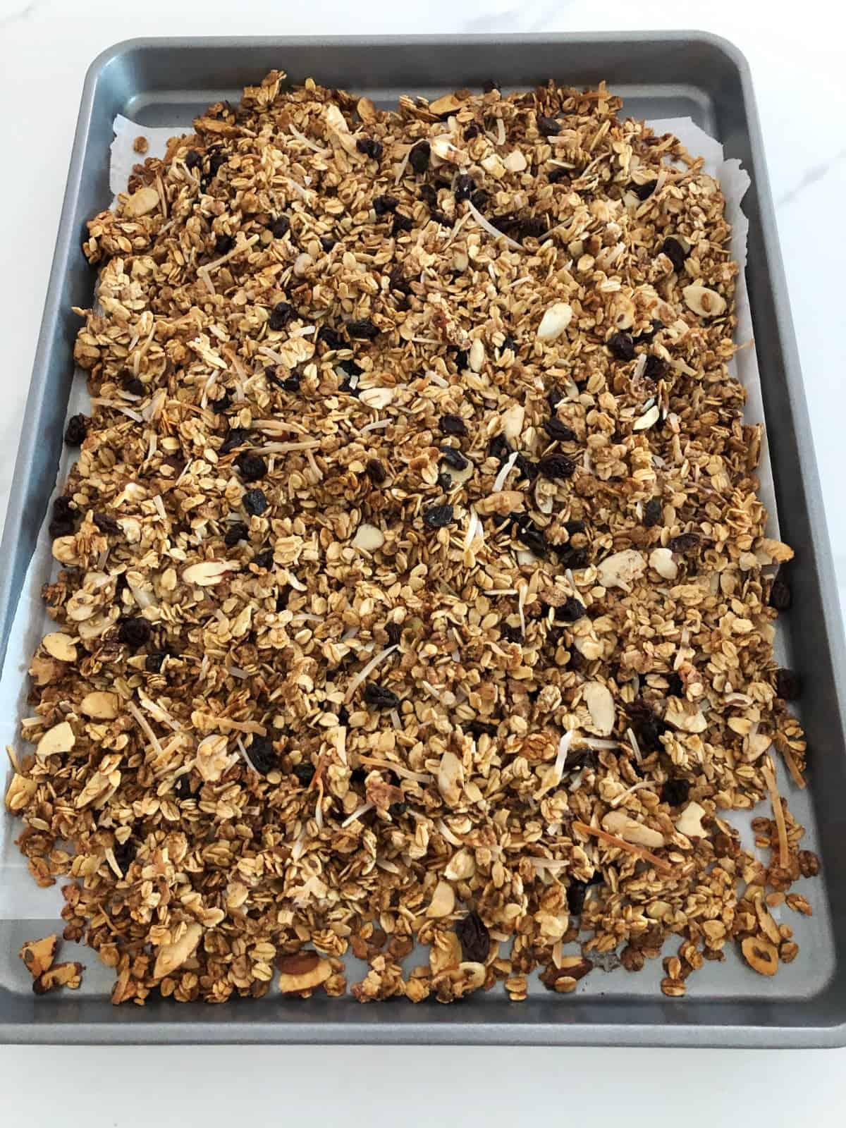 Fresh baked almond granola in baking pan.