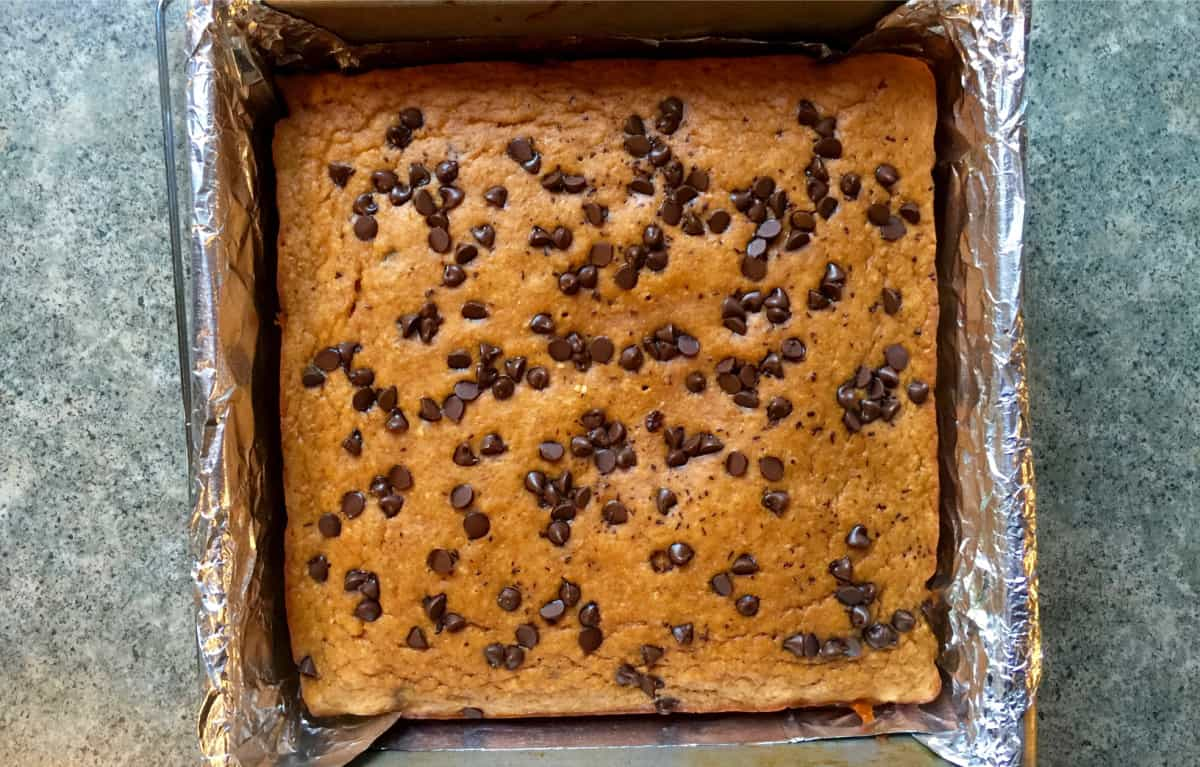 Fresh baked pumpkin chocolate chip blondies in foil-lined pan from above.