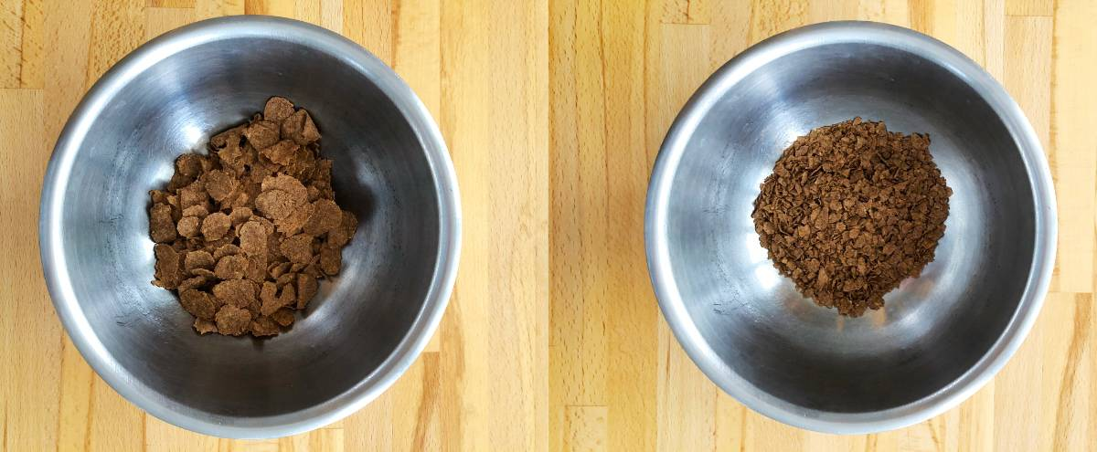 Mixing bowl with bran flakes next to bowl with crushed bran flakes.