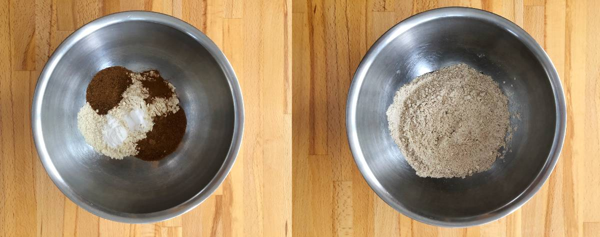 One mixing bowl with piles of flour, brown sugar, cinnamon, baking soda and baking powder and one mixing bowl with ingredients whisked together.