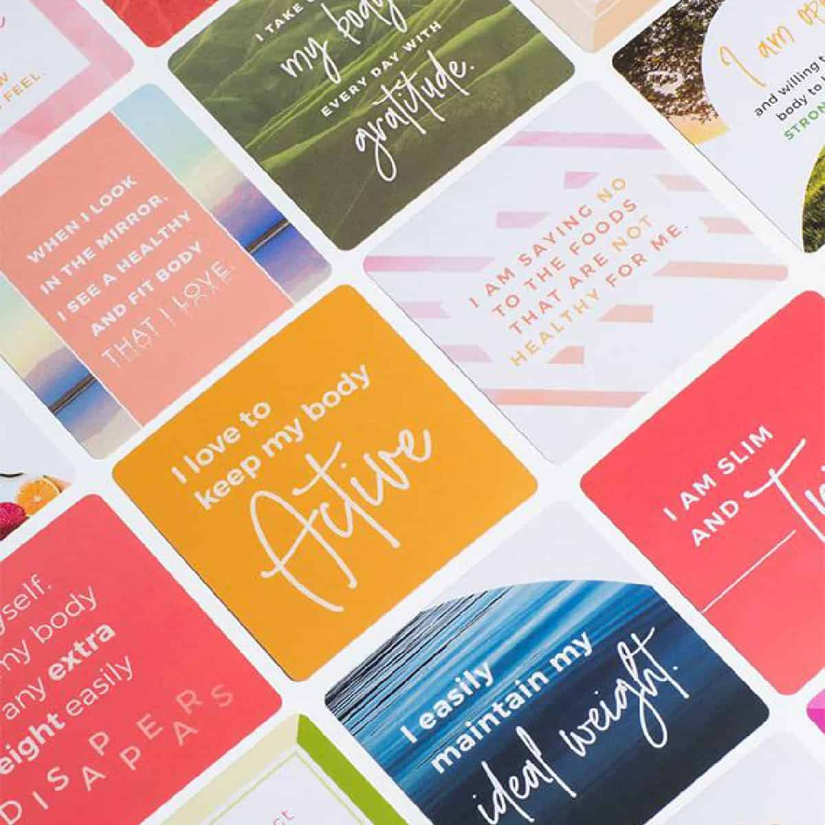 Weight loss affirmation cards up close