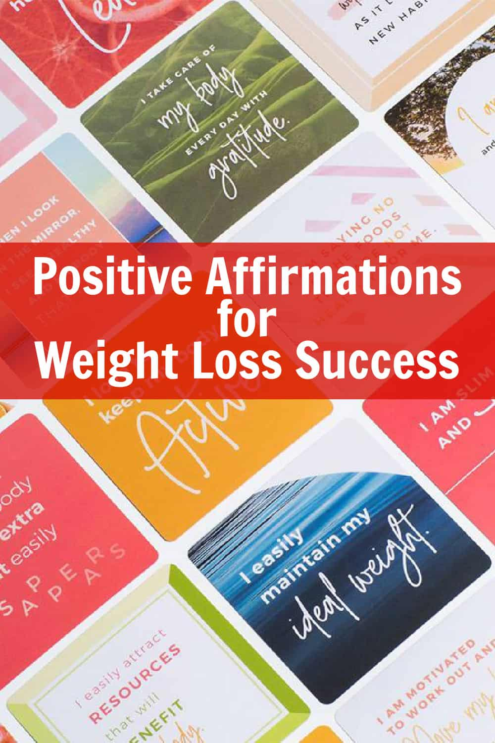 Assortment of positive affirmations for weight loss success