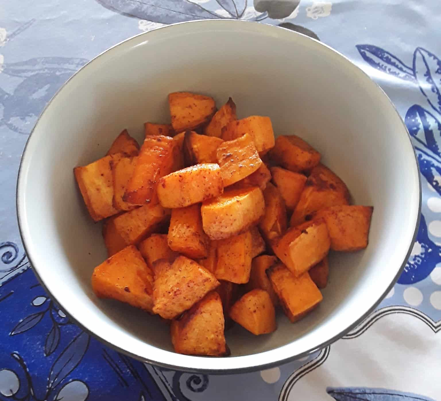 Bowl of spicy roasted sweet potatoes