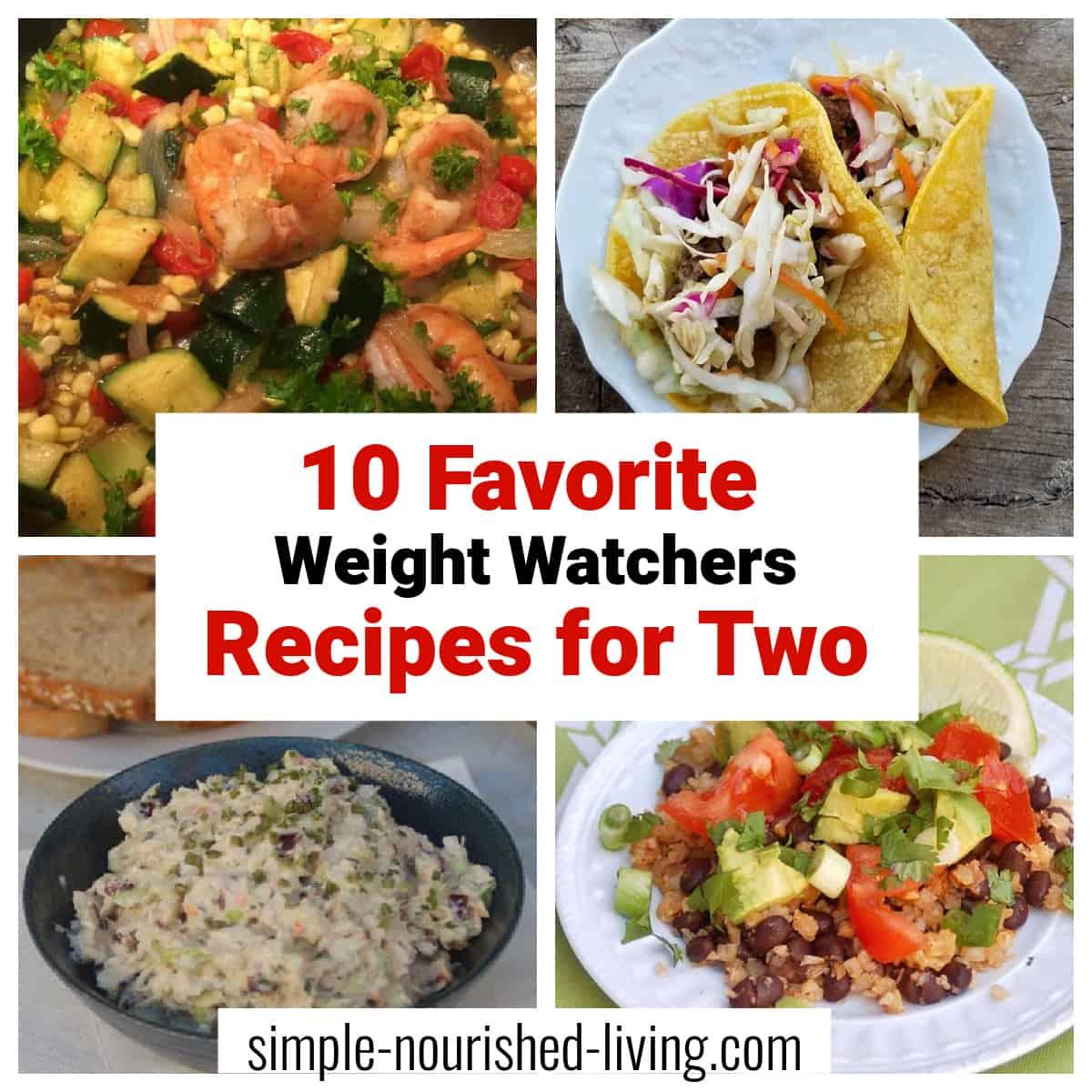 Collage with shrimp stir fry, cauliflower rice and beans, Asian pork tacos and crunchy tuna salad.