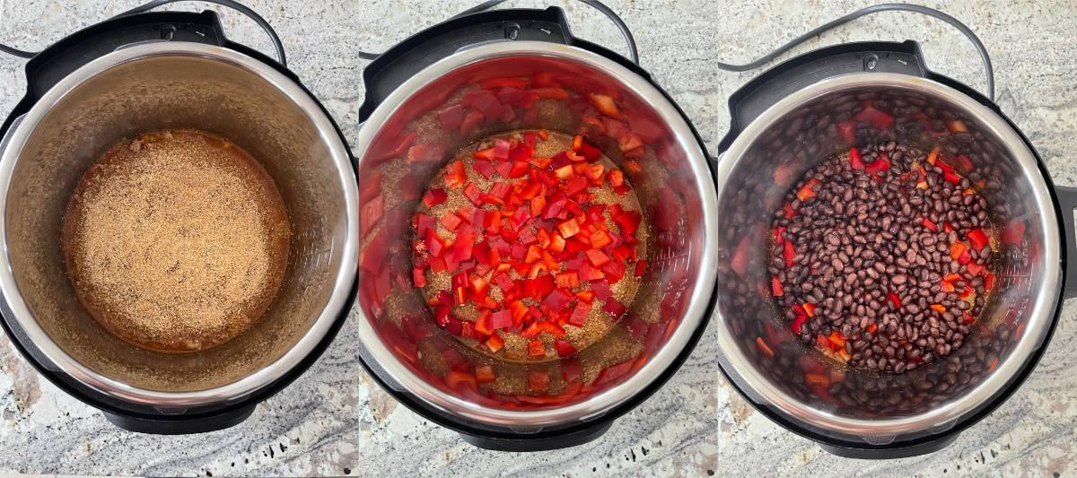 Adding bulgur, chopped red pepper, black beans to ground turkey in InstantPot.