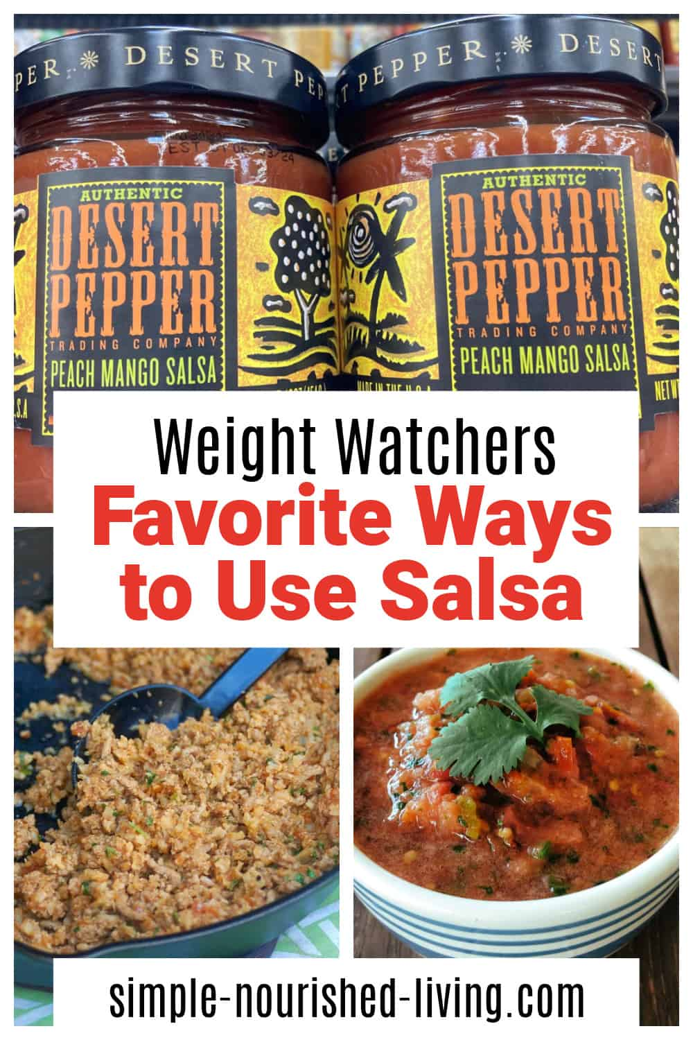 Collage with jars of salsa, a bowl of fresh salsa and skillet cauliflower taco rice