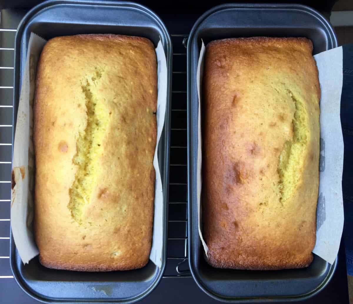 Two loaves of fresh baked banana bread.