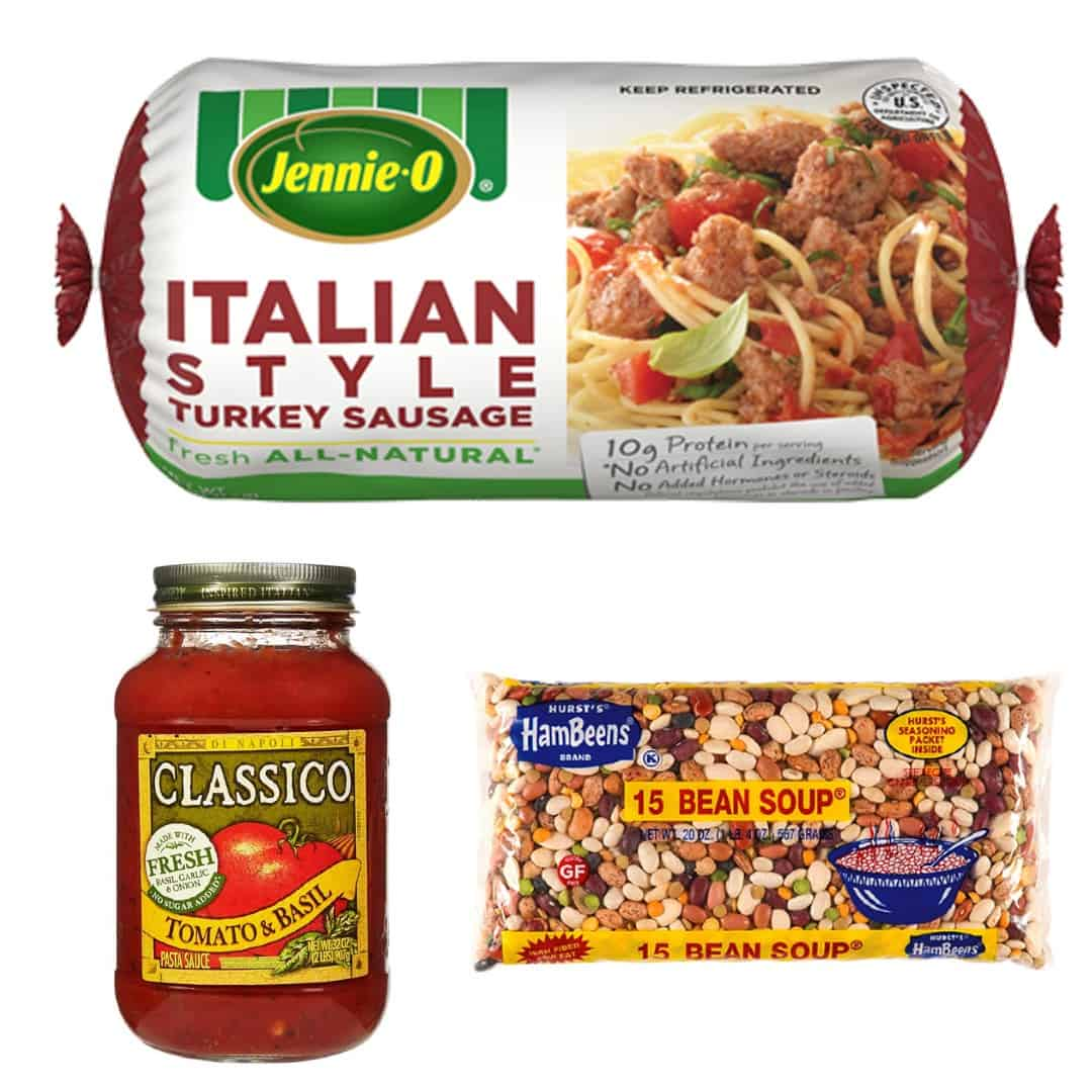 Collage with package of Italian style turkey sausage, Classico tomato sauce and dry 15 bean soup mix.